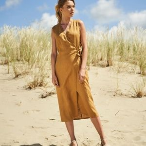 Linen Handmade Studio Wrap Dress Resort Wear